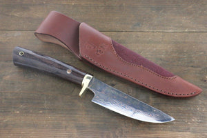 Tsukasa Hinoura Blue Steel No.2 Colored Damascus Hunter Knife 100mm with Rosewood Handle - Seisuke Knife