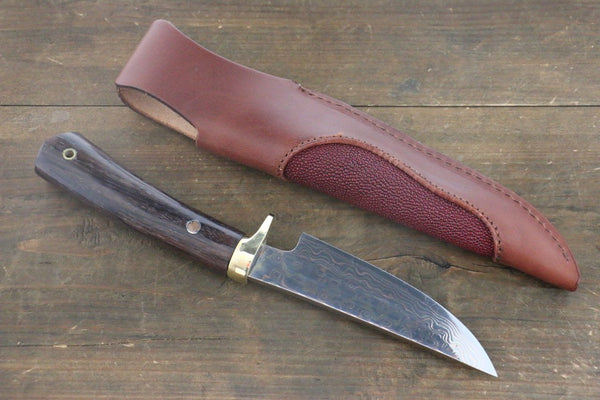 Tsukasa Hinoura Blue Steel No.2 Colored Damascus  Hunter Knife Japanese Chef Knife 135mm