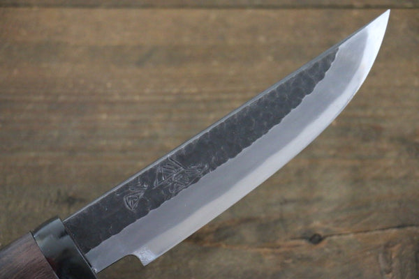 Tsukasa Hinoura White Steel Kurouchi Hunter Knife 130mm with Rose wood Handle
