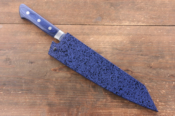 Seisuke AUS10 Hammered Kiritsuke Santoku Japanese Knife 195mm Blue Pakka wood Handle with Sheath - Seisuke Knife