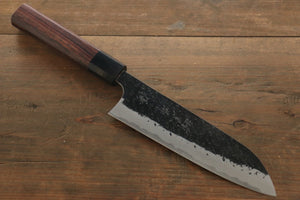 Yu Kurosaki Blue Super Clad Hammered Kurouchi Santoku Japanese Chef Knife 165mm - Seisuke Knife
