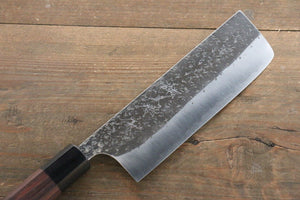 Yu Kurosaki Blue Super Clad Hammered Kurouchi Nakiri Japanese Chef Knife 165mm - Seisuke Knife