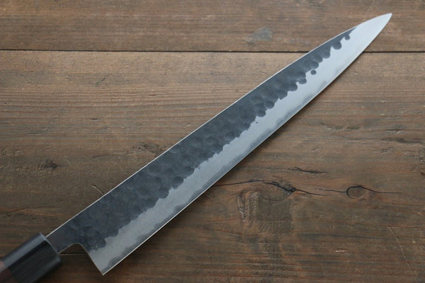 Yoshimi Kato Blue Super Clad Hammered Kurouchi Sujihiki Japanese Chef Knife 270mm