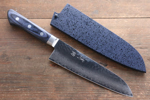 Seisuke VG10 33 Layer Damascus Santoku Japanese Knife 180mm with Blue Pakkawood Handle with Saya - Seisuke Knife