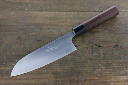 Ogata White Steel No.2  Damascus Santoku Japanese Knife 165mm with Shitan Rosewood Handle