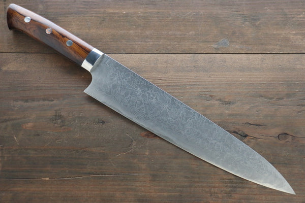 Saji R2/SG2 Diamond Finish Damascus Gyuto Japanese Chef Knife 240mm wtih Iron Wood handle