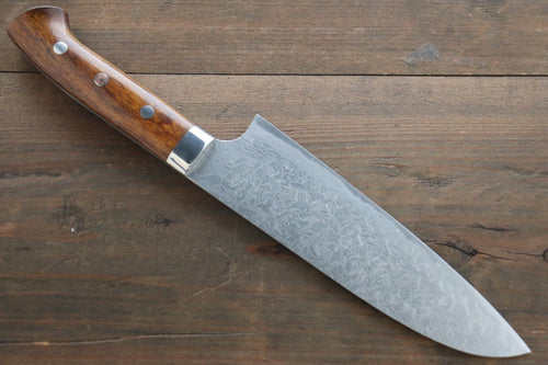 Saji R2/SG2 Diamond Finish Damascus Santoku Japanese Chef Knife 180mm wtih Iron Wood handle