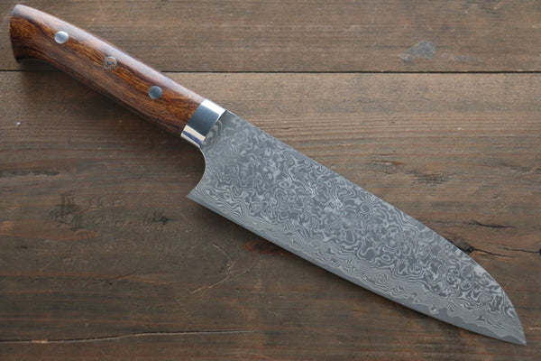 Saji R2/SG2 Black Damascus Santoku Japanese Chef Knife 180mm wtih Iron Wood handle