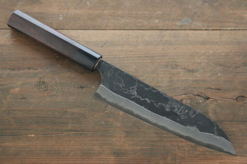 Shungo Ogata White Steel No.2 Damascus Kurouchi Santoku Japanese Chef Knife 180mm