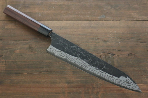 Shungo Ogata White Steel No.2 Damascus Kurouchi Gyuto Japanese Chef Knife 240mm