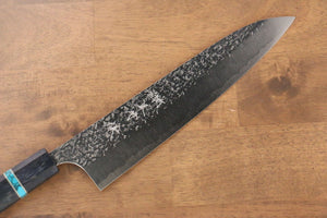 Yu Kurosaki Shizuku R2/SG2 Hammered Gyuto Japanese Knife 240mm Maple(With turquoise ring Blue) Handle - Seisuke Knife