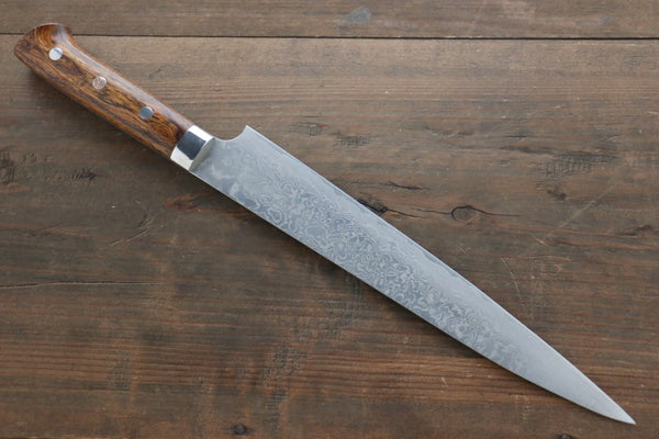 Saji R2/SG2 Diamond Finish Damascus Sujihiki Japanese Chef Knife 240mm wtih Iron Wood handle