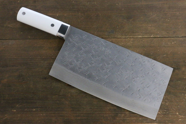 Takeshi Saji SRS13 Hammered Chinese kitchen knife 225mm with White Stone handle - Seisuke Knife