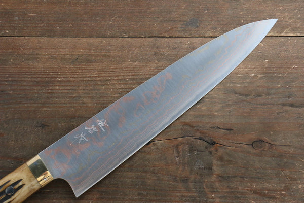 Takeshi Saji Blue Steel No.2 Colored Damascus Gyuto Japanese Knife 240mm with Brown Cow Bone  Handle - Seisuke Knife