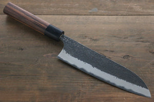 Yu Kurosaki Blue Super Clad Hammered Kurouchi Santoku Japanese Chef Knife 180mm - Seisuke Knife