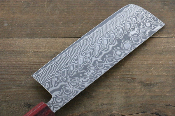 Yoshimi Kato R2/SG2 Damascus Nakiri Japanese Chef Knife 165mm with Honduras Rosewood Handle