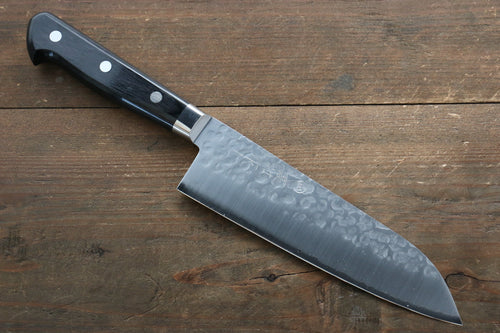 Takamura Knives VG10 Hammered Santoku Japanese Knife 170mm with Black Pakka wood Handle