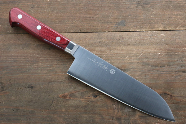Takamura Knives R2/SG2 Santoku Japanese Knife 170mm with Red Pakka wood Handle
