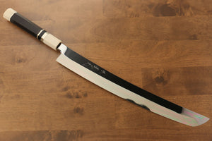 Jikko Silver Steel No.3 Sakimaru Yanagiba Japanese Knife 360mm Ebony with Ring Handle - Seisuke Knife