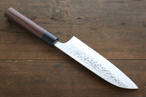 Yoshimi Kato Silver Steel No.3 Hammered Santoku Japanese Chef Knife 165mm