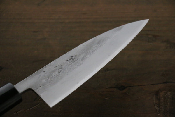 Seisuke Blue Steel No.2 Nashiji Ajikiri Japanese Chef Knife 105mm wtih Burned Chestnut  handle - Seisuke Knife