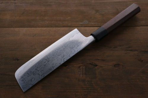 Takayuki Iwai Blue Steel No.2 Fumon Damascus  Series Nakiri Japanese Chef Knife 170mm