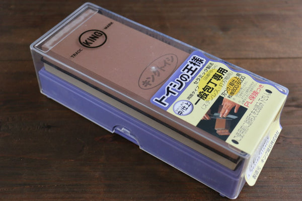 King Two Sided Sharpening Stone with Plastic Base - #800 & #6000