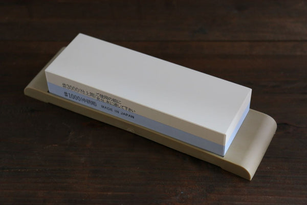 Suehiro Two Sided SMALL Sharpening Stone with Rubber Base - #1000 & #3000 - Seisuke Knife