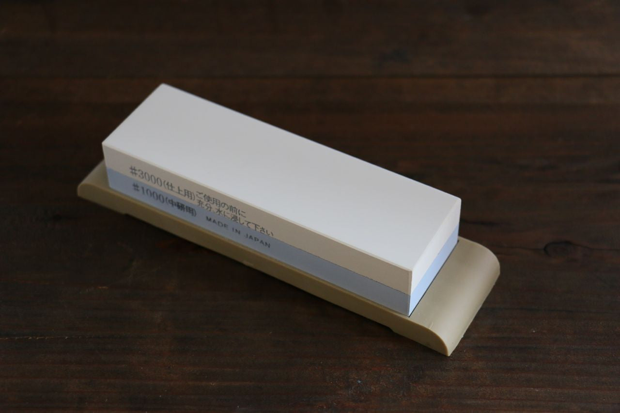Suehiro Two Sided MINI Sharpening Stone with Rubber Base - #1000 & #3000 - Seisuke Knife