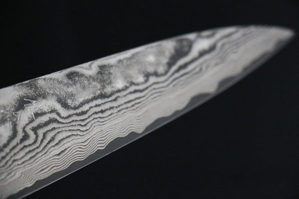 Takeshi Saji VG10 Black Finish Damascus Japanese Petty Chef Knife with Micarta Handle 135mm - Seisuke Knife
