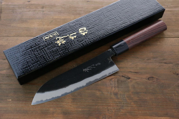 Takayuki Iwai Blue Steel No.2 Kurouchi Finish Santoku Japanese Chef Knife 165mm