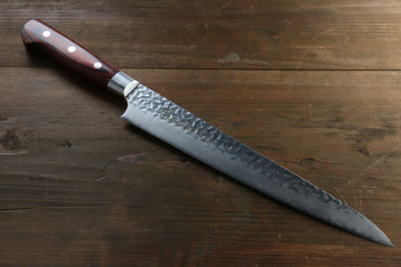 Takeshi Saji Blue Steel No.2 Colored Damascus Sujihiki Japanese Chef Knife 300mm with Iron wood Handle