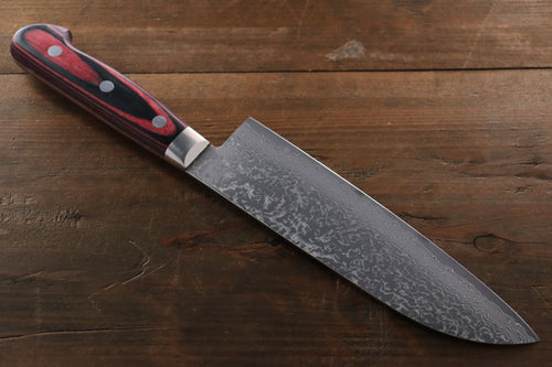 Yoshimi Kato VG10 nickel Damascus Santoku Japanese Chef Knife 180mm - Seisuke Knife