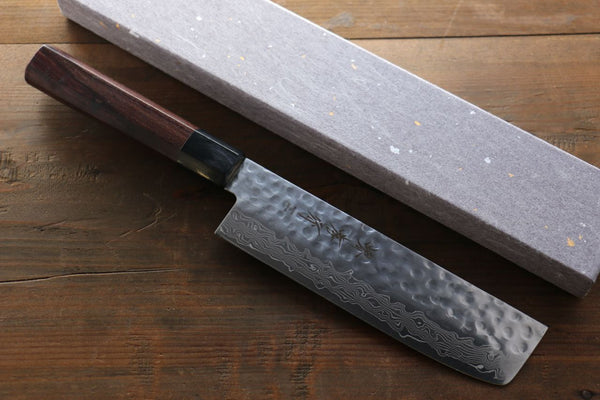 Sakai Takayuki 45 Layer Damascus Japanese Chef's Nakiri Knife 160mm with Shitan Handle - Seisuke Knife