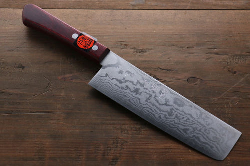 Shigeki Tanaka 17 Layer Damascus Hand Forged Japanese Chef's Nakiri Knife 160mm