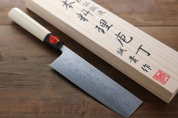 Shigeki Tanaka Blue Steel 17 Layer Damascus Japanese Chef's Nakiri Knife 180mm