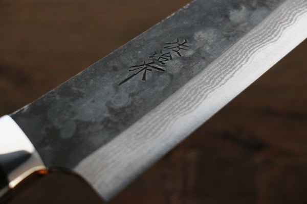 Takeshi Saji Nomura Style Blue Super Kurouchi Damascus Chef's Gyuto Knife wtih Micrta Handle 180mm - Seisuke Knife