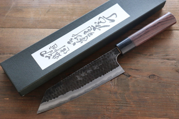 Katsushige Anryu 3 Layer Cladding Blue Super Core Hammered Japanese Chef's Bunka Knife 165mm - Seisuke Knife