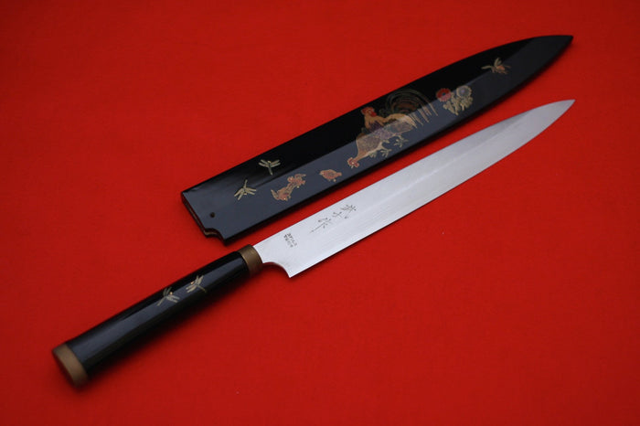 Takeshi Saji VG10 Japanese Yanagiba Chef Knife with Maki-e Art Rooster 270mm