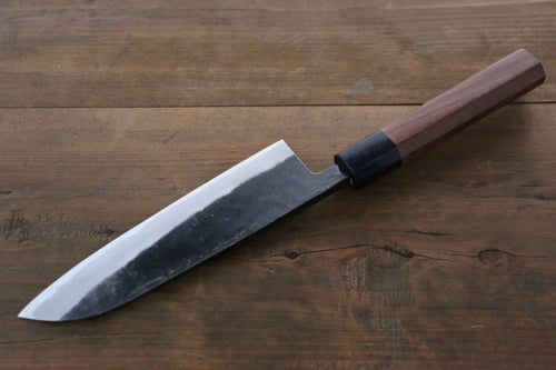 Takayuki Iwai Blue Super Steel Kurouchi Finish Santoku Japanese Chef Knife