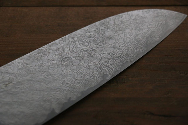 Takeshi Saji R2 Diamond Finish Japanese Santoku Kitchen Chef Knife with Iron Wood Handle 180mm