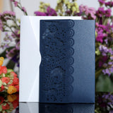 10pcs Navy Blue White Laser Cut Wedding Invitations Card
