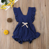 6  Solid Color Cute Baby Girl Romper Jumpsuit