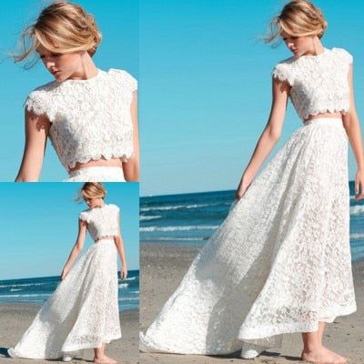 Summer Short 2 Piece Lace Hi-Lo Wedding Dresses