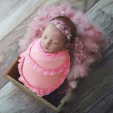 Baby Photography Wrap Soft Muslin Swaddle With Lace Trim Photography Props