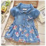 Baby Girl Summer Denim Floral Dress