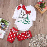Baby Girls Romper Long Sleeve with Bow  Christmas Costume