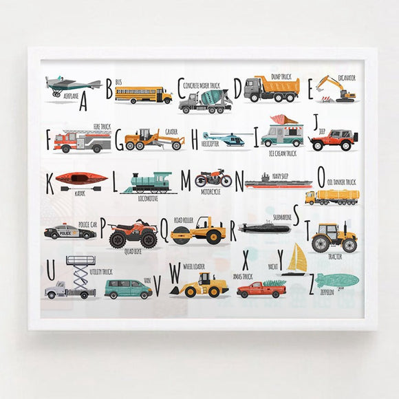Car Alphabet Art Canvas