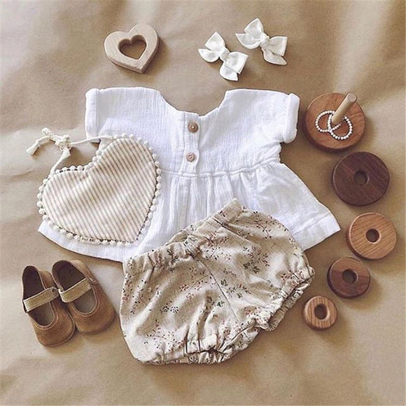 Emma Newly Summer Infant  Cotton Linen Outfit
