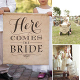 """HERE COMES THE BRIDE"" Burlap Bunting Banners Garland Kit"